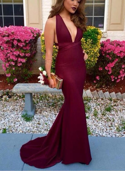 Sexy Burgundy Floor Length Party Dress, Burgundy Prom Gowns 2018, Formal Dresses