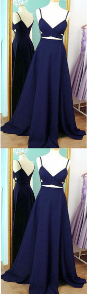 Navy Blue Chiffon Prom Dress 2019, Party Dresses, Straps Formal Dresses