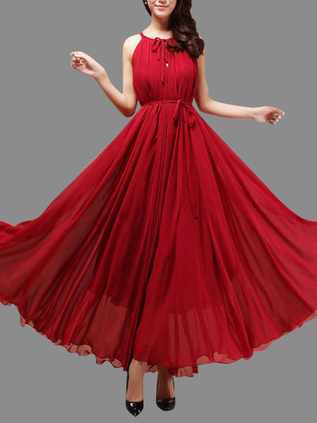 Wine Red Chiffon Halter Floor Length Party Dress, Handmade Formal Dress, Party Dress 2018