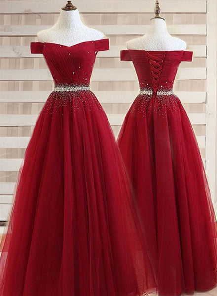Burgundy Off Shoulder Prom Dress 2019, Beaded Junior Prom Dresses