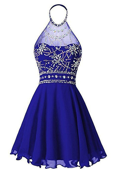 Chiffon O-Neckline Beaded Stylish Junior Prom Dress, Homecoming Dress for Sale