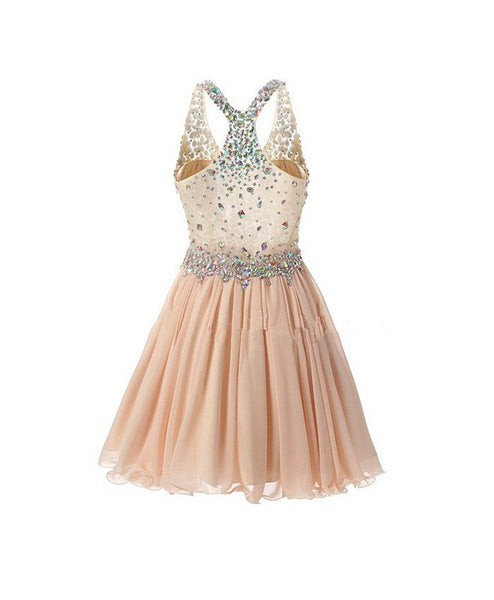 Beaded Sparkle Cute Party Dresses, Knee Length V-neckline Chiffon Prom Dresses, Homecoming Dresses