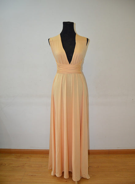 Long Spandex Light Champagne Multi Way Bridesmaid Dress, Convertible Dresses