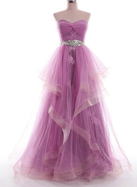 Charming Tull Gowns, Pink-Purple Long Formal Dress, Prom Dress 2018
