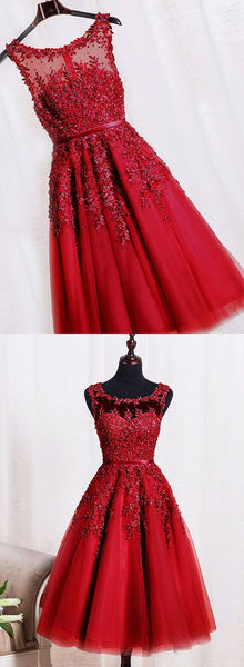 Red Tulle Tea Length Party Dresses, Prom Dresses 2018, Red Homecoming Dresses