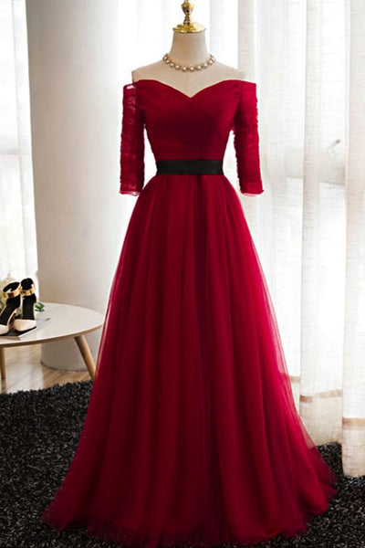 Dark Red Tulle Off Shoulder Floor Length Wedding Party Dress, Elegant Junior Prom Dress