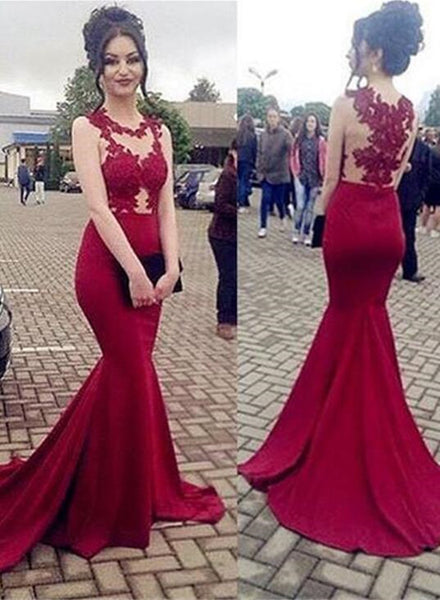 Charming Mermaid Dark Red Formal Dresses, Evening Gowns, Red Prom Dress 2018