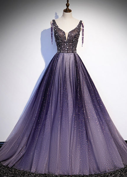 Charming Purple Gradient Tulle V-neckline Long Party Dress, A-line Prom Dress 2021