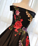 Beautiful Satin Black Tea Length Party Dress, Floral Black Formal Dress
