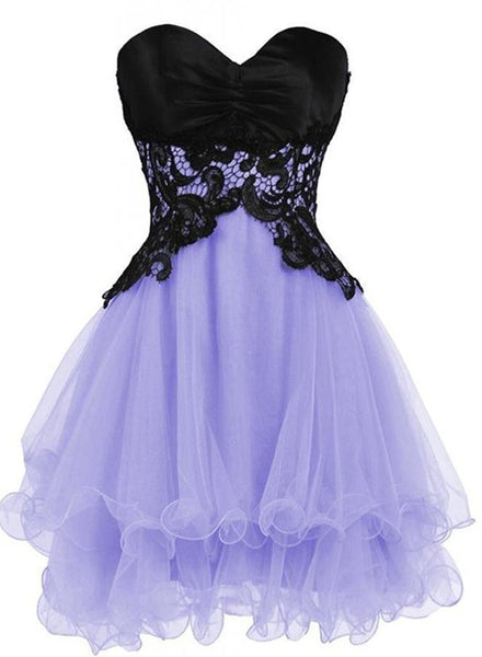 Lovely Lavender Short Prom Dresses 2018, Lace Homecoming Dresses, Party Dresses