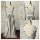 Grey Lace and Chiffon Cap Sleeves Bridesmaid Dress, Grey Wedding Party Dress