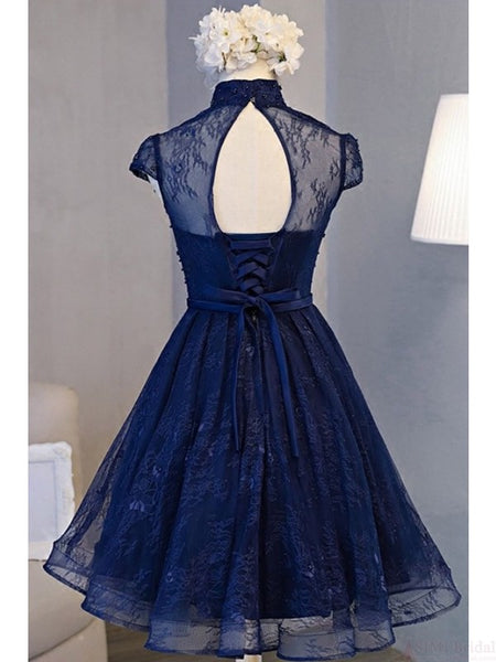 Adorable Navy Blue High Neckline Party Dress 2019, Wedding Party Dresses