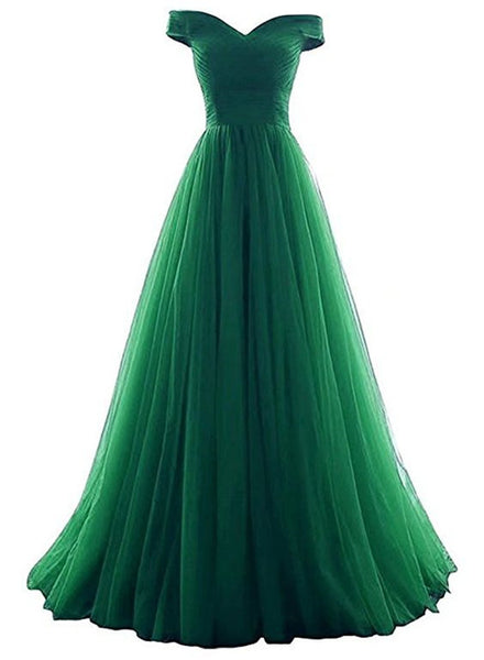 Tulle Off Shoulder Floor Length Party Dress 2019, Long Prom Dress, Prom Dresses 2019