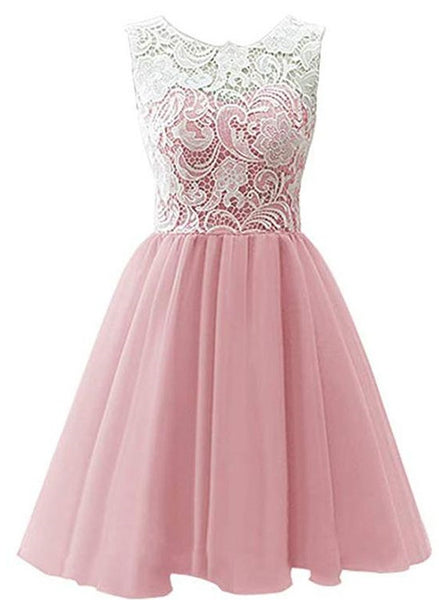 Pink Tulle and Lace Party Dress 2019, Round Neckline Elegant Formal Dress 2019