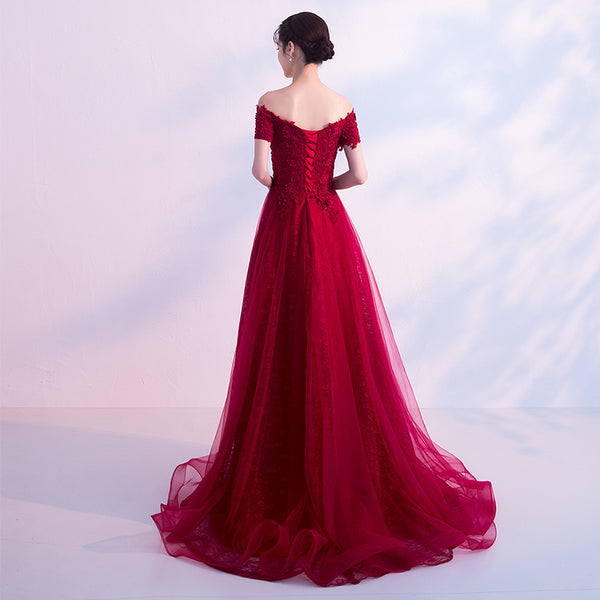 Beautiful Wine Red Lace Off Shoulder Party Dress, Burgundy Prom Dress
