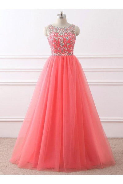 Coral Beaded Long Formal Gowns, Tulle Prom Dress, Party Dress 2019