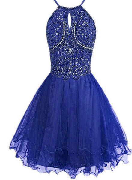 Royal Blue Straps Short Beaded Homecoming Dresses, Spark Short Prom Dress