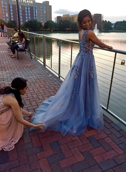 Blue-Grey Tulle with Flowers Long Party Gowns, Formal Dresses, A-line Prom Gowns