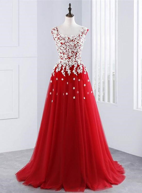White and Red Tulle Long Formal Gowns, Red Party Dresses, Red Prom ...