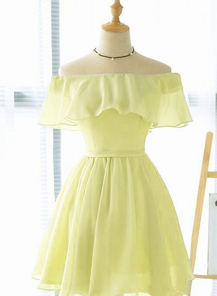 off shoulder yellow short party dress