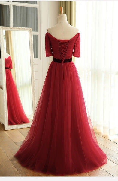 Charming Dark Red Tulle A-line Bridesmaid Dress, Wine Red Prom Dress