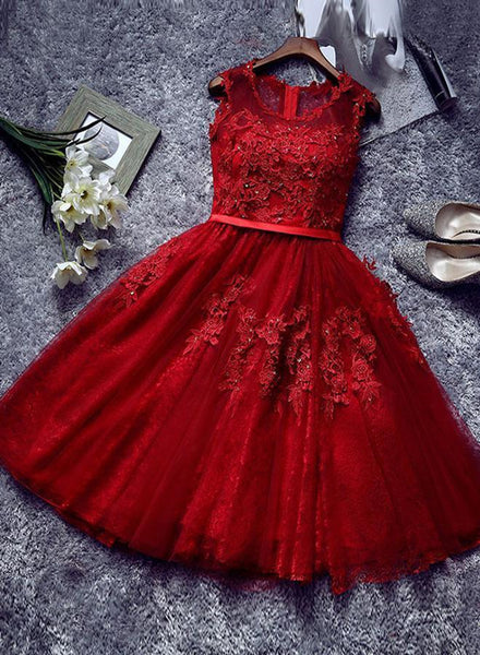 Adorable Tulle Round Neckline Tulle Party Dress with Applique, Wine Red Prom Dress