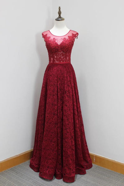Burgundy Lace High Quality Handmade Formal Gowns, A-line Long Prom Dress, Elegant Evening Gowns