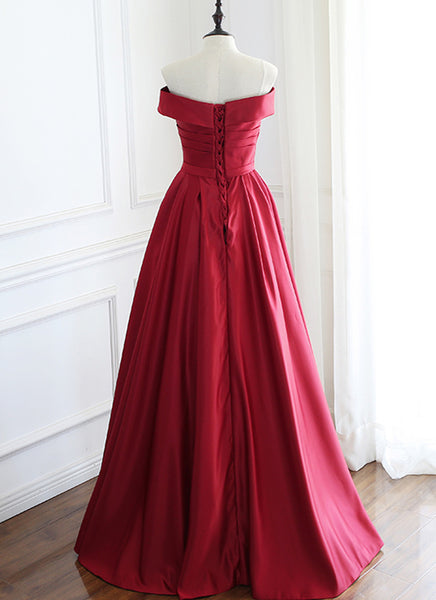 Wine Red Satin Floor Length Party Dress, A-line Off Shoulder Prom Dress