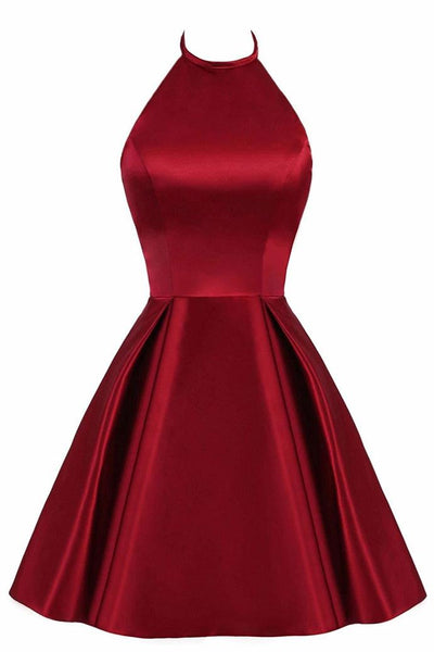 Beautiful Wine Red Halter Knee Length Homecoming Dress, Satin Short Prom Dress 2019