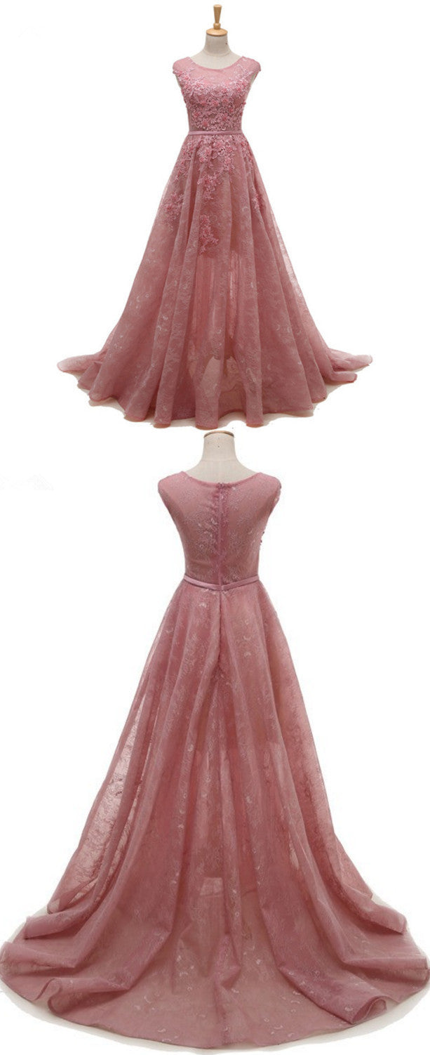 Pink Lace Prom Dresses 2018, Pink Party Gowns, Prom Dresses 2018 ...