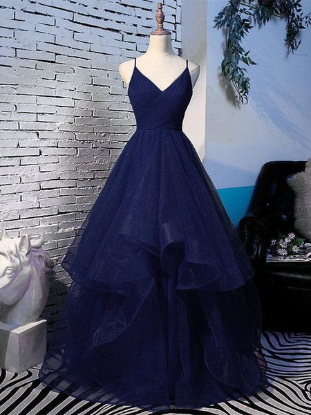 Beautiful Navy Blue Tulle V-neckline Straps Long Party Dress, Blue Formal Gown