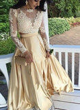 Gold Two Piece Prom Dress 2018, Long Sleeves Party Dresses, Formal Dresses