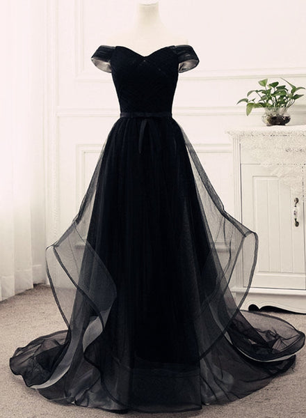 Black Off Shoulder Junior Prom Dress 2018, Tulle Party Gowns, Evening Dresses