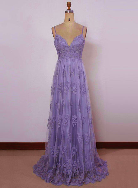 Beautiful Light Purple Straps with Lace Elegant Party Dress, Tulle Evening Gowns 2019