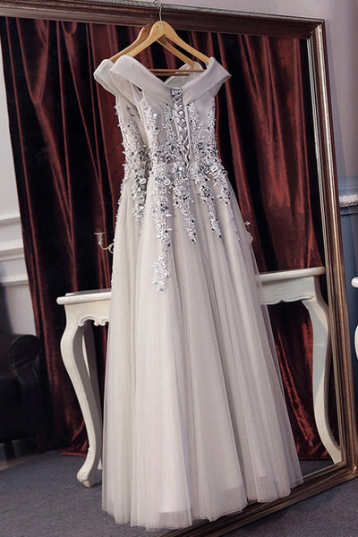 Beautiful Off Shoulder Grey V-neckline Prom Dress with Lace Applique, Grey Party Dresses 2019