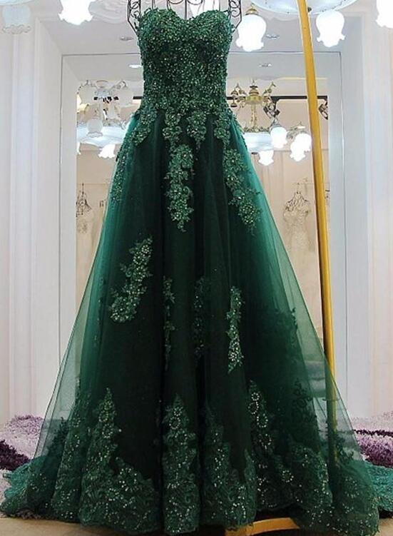 Charming Green Applique And Beaded Tulle Princess Gowns Green