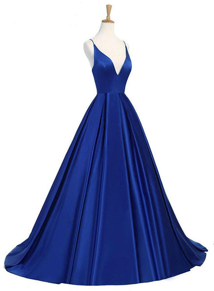 Royal Blue Sexy Backless Satin V-neckline Long Party Gowns, Satin Party Dresses, Sexy Formal Dresses
