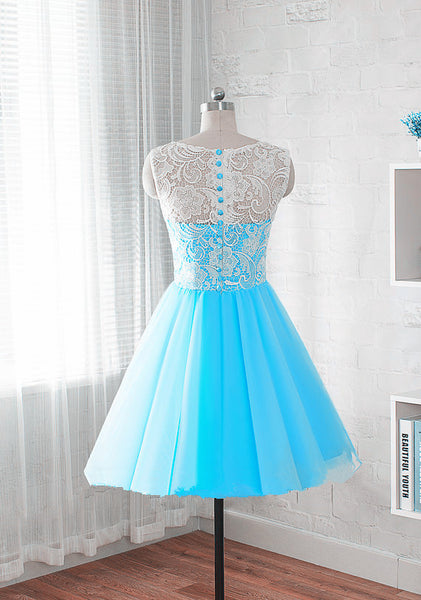 Blue Short Lace Party Dresses, Teen Formal Dresses, Junior Party Dresses
