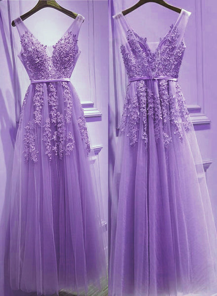 Beautiful Light Purple Tulle V-neckline Party Dress 2019, Tulle Formal Gowns 2019