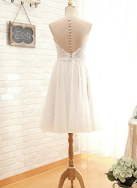 Ivory Lovely Bridesmaid Dresses, Short Prom Dresses, Wedding Party Dresses