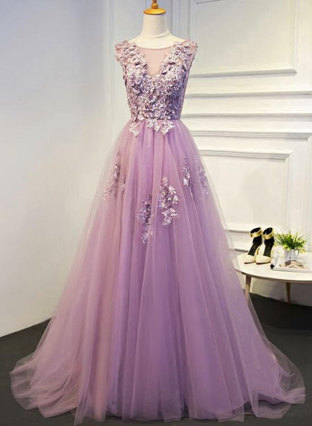 Light Purple Tulle Prom Dresses 2018, Gorgeous Prom Dresses, V-neckline Formal Dresses