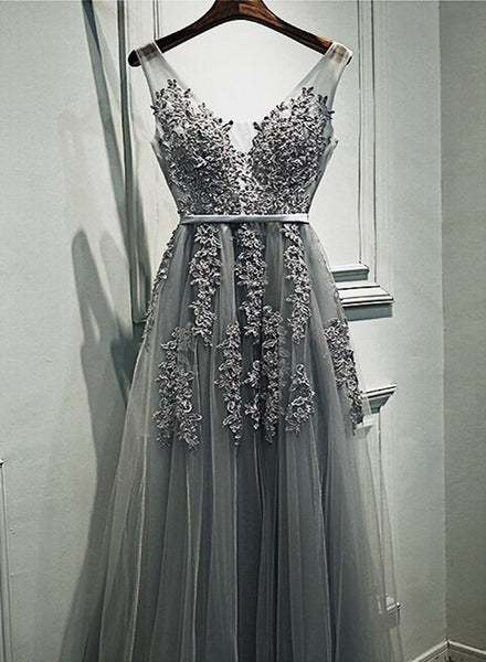 Grey Romantic Lace V-neckline Formal Gowns, Applique Long Prom Dress, High Quality Party Dress 2018