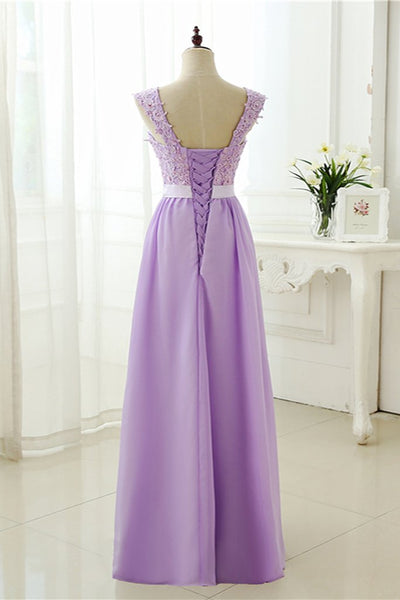 Beautiful Chiffon Lavender Straps Long Party Gowns, Prom Dresses 2019