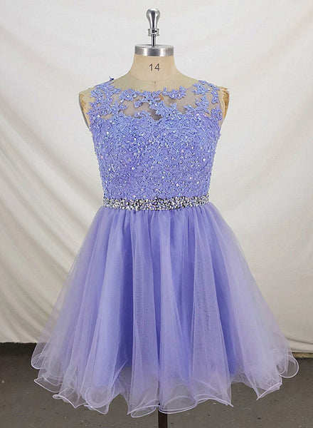 Lovely Lavender Tulle Short Handmade Party Dress, Knee Length Homecoming Dress