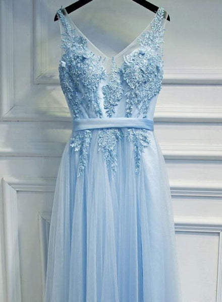Light Blue V-neckline Charming Prom Gowns, Blue Formal Dress with Belt, Lovely Gowns