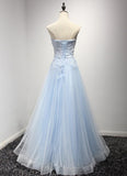 Light Blue Charming Sweetheart Neckline Floor Length Formal Dress, Blue Tulle Gowns, Party Dress 2018
