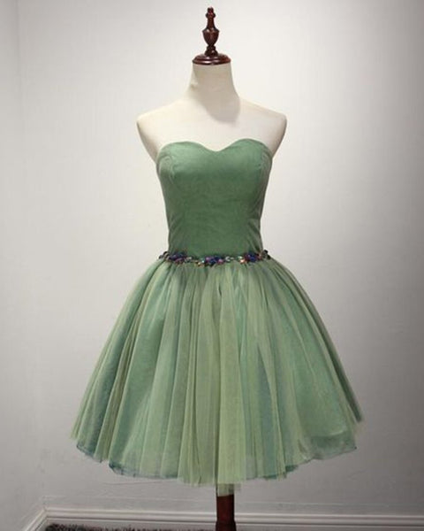 Green Sweetheart Tulle Knee Length Party Dress 2019, Green Homecoming Dresses