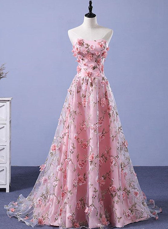 Beautiful Light Pink Flowers Romantic Long Formal Gowns, Flowers ...