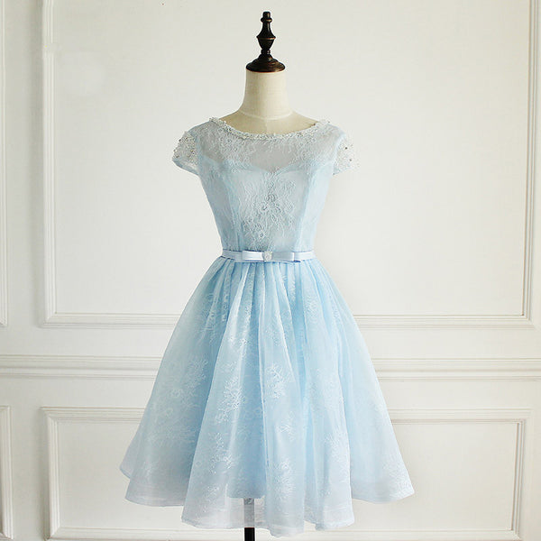 Light Blue Lace Cap Sleeves Cute Short Party Dress, Blue Homecoming Dress