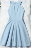 Light Blue Halter Short Wedding Party Dress, Cute Blue Prom Dress